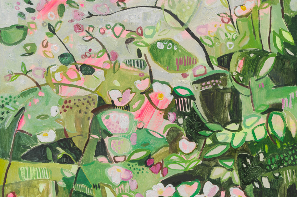 Abstract painting of wildflowers in a hedgerow